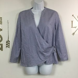 THE LIMITED PINSTRIPED WRAP TOP